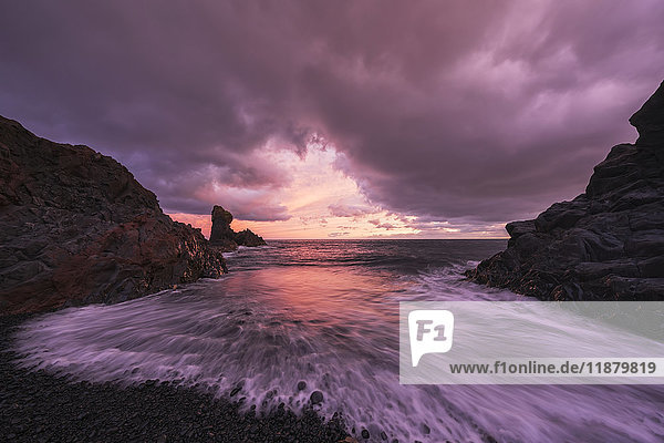 'Sunset over the beach called Djupalonsandur which on the western tip of the Snaefellsness Peninsula; Iceland'