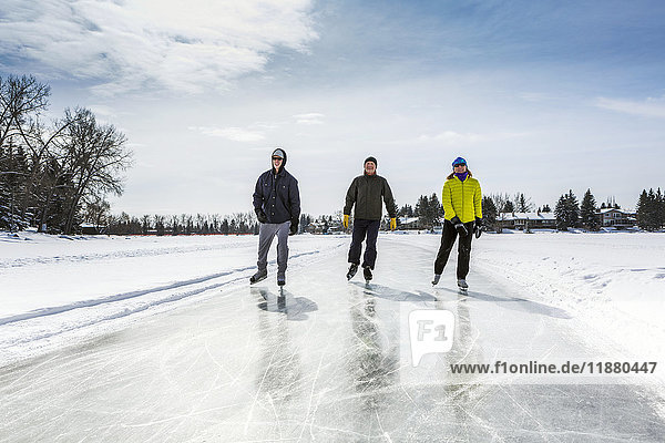 'Two males and one female skating on freshly groomed ice on pond with houses in the background; Calgary  Alberta  Canada'