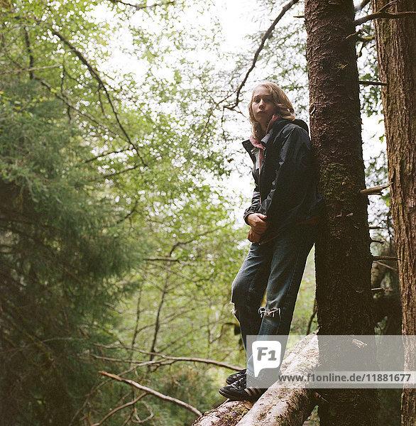 Bildnis eines Jungen  auf einem Baumstamm stehend  an einen Baum gelehnt