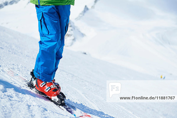 Close up of skier's legs on snow
