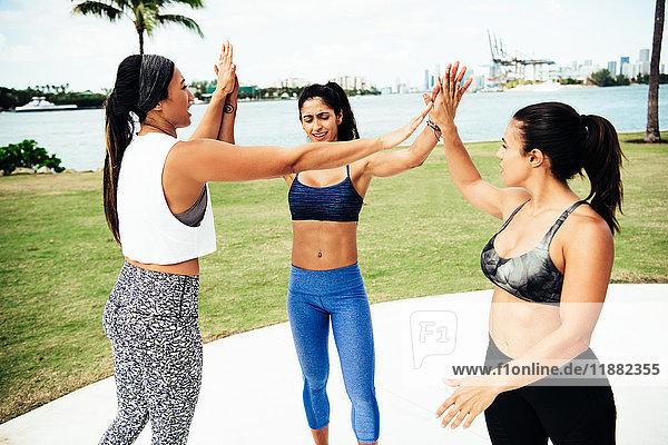 Drei junge Frauen im Freien  in Sportkleidung  High Fives geben  South Point Park  Miami Beach  Florida  USA