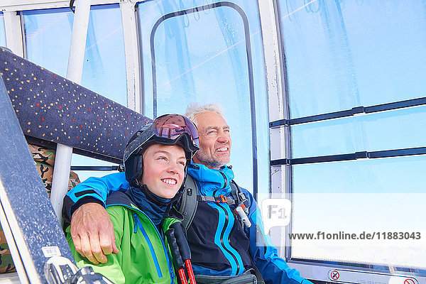 Father and son in cable car  Hintertux  Tirol  Austria