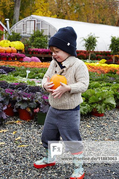 Junge mit Kürbis im Gartenzentrum
