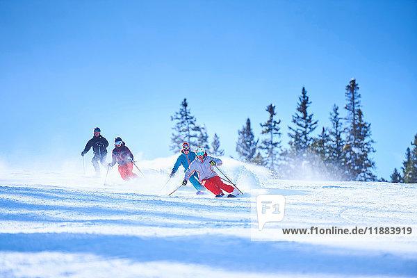 Männliche und weibliche Skifahrer auf schneebedeckten Skipisten  Aspen  Colorado  USA