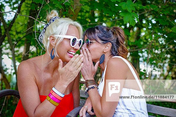 Zwei glamouröse Frauen flüstern sich im Garten gegenseitig zu