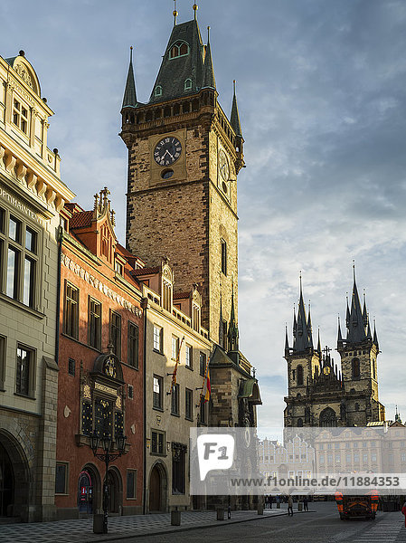'Clock tower of Old City Hall in Old Town Square; Prague  Czech Republic'