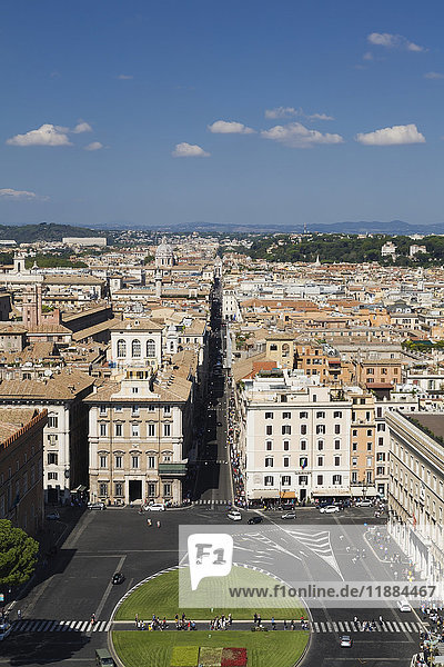 'View of Piazza Venezia and the city of Rome and it's skyline; Rome  Italy'