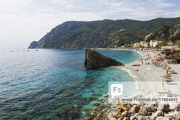 'Beach at Monterosso village  part of the Cinque Terre hamlets on the Italian Riviera coastline; Monterosso  La Spezia  Italy'