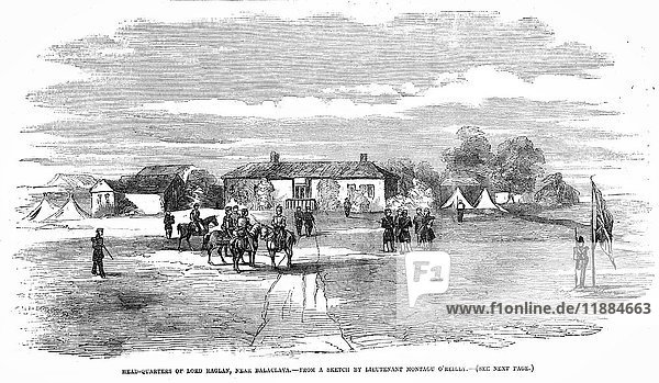 The Illustrated London News etching from 1854.Headquarters of Lord Raglan Near Balaclava from a sket