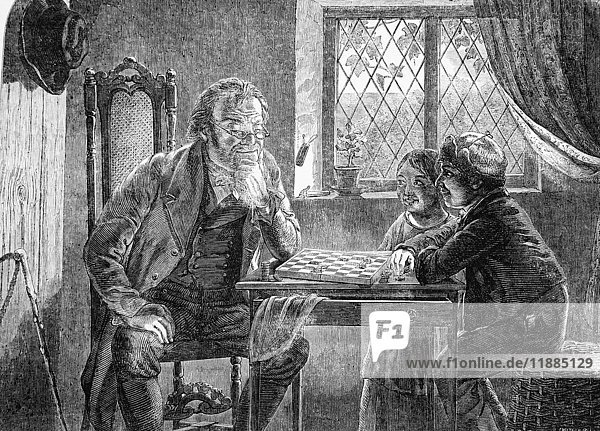 The Illustrated London News etching from 1835.Illustration of an old man playing chess against two c