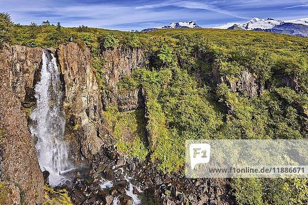 Wasserfall Hundafoss  Skaftafell  Austurland  Island  Europa