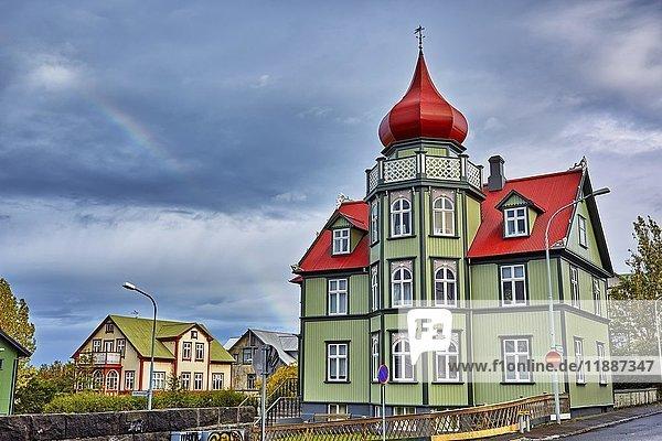 Wohnhaus  Haus mit Zwiebelturm  Reykjavík  Island  Europa