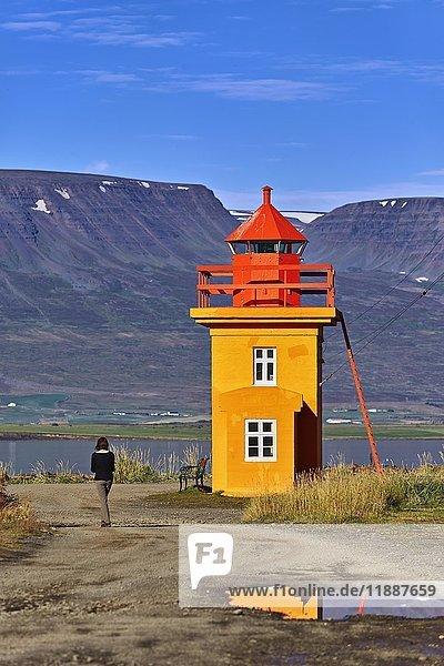 Leuchtturm  Svalbarðseyri  Akureyri  Island  Europa