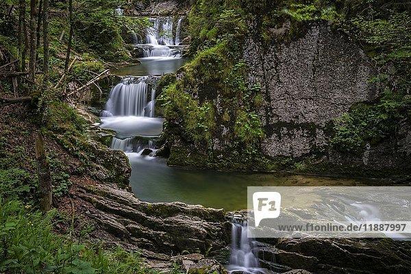Sibli Wasserfall am Fluss Rottach  Zufluss in den Tegernsee  Bayern  Deutschland  Europa