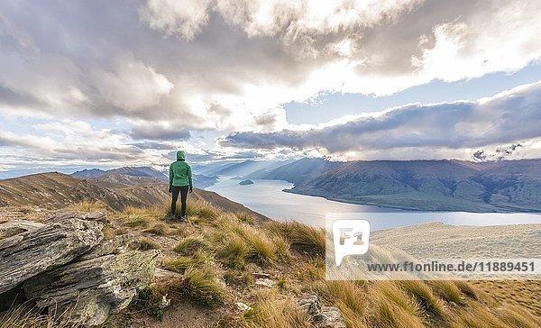 Wanderin blickt auf See  Lake Hawea und Berglandschaft  Isthmus Peak  Otago  Südinsel  Neuseeland  Ozeanien
