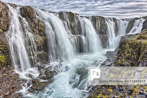 Kolufossar Wasserfall  Laugarbakki  Hvammstanga  Island  Europa