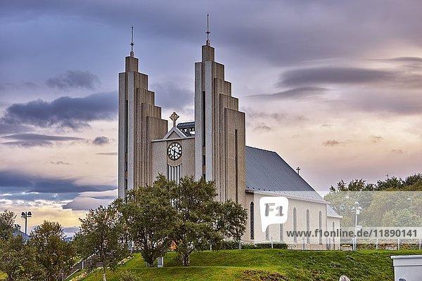 Kirche Akureyrarkirkja  Akureyri  Island  Europa