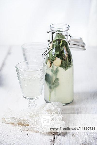 Homemade lemonade with ginger