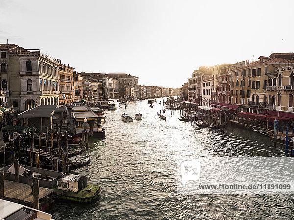 Italy  Venice  Canale Grande at evening twilight seen from Rialto Bridge