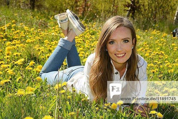 Junge Frau liegt auf einer Wiese mit Löwenzahn  Ystad  Scania  Schweden  Europa
