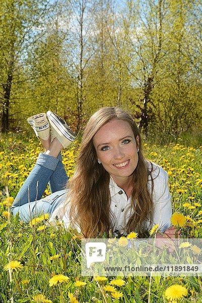 Junge Frau liegt in einem Feld mit Löwenzahn  vor einem Birkenwald  Ystad  Scania  Schweden  Europa