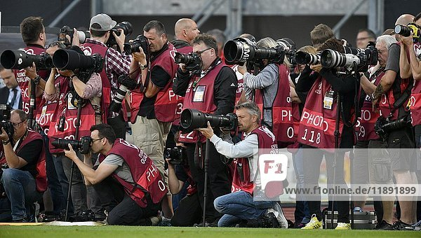 Crowd of press photographers  Sports photographers  Nuremberg  Franconia  Bavaria  Germany  Europe