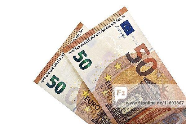 2 aktuelle 50 EURO Scheine April 2017 Vorderseite