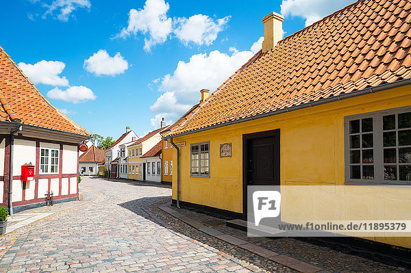Odense  Denmark  Traditional houses in the old town with the Hans Christian Andersen home in the foreground right