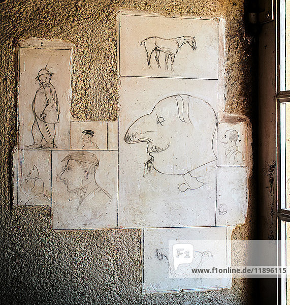 Europe  France  Occitanie Aveyron  Du Bosc Castel Toulouse-Lautrec drawing on the castle wall  family house