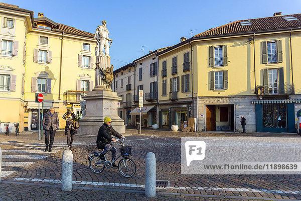 Italy  Lombardy  Lodi  Vittorio Emanuele II monument in Piazza Castello