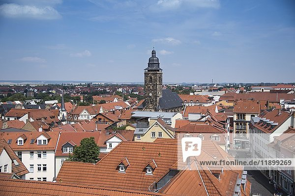 Ausblick vom Rathaus mit Kirche St. Margarethen  Gotha  Thüringen  Deutschland  Europa