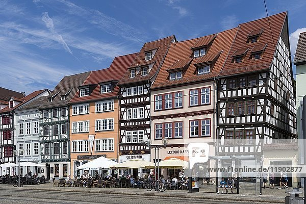 Half-timbered houses on Cathedral Square  Erfurt  Thuringia  Germany  Europe