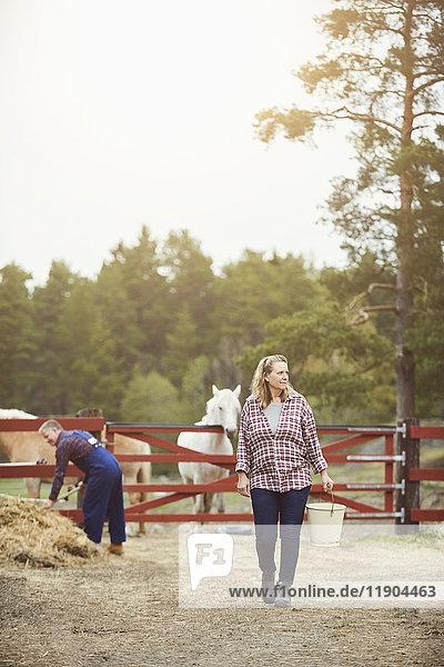 Bäuerin schaut weg  während sie den Eimer in der Farm trägt