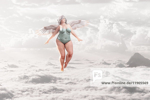 Overweight angel flying in clouds