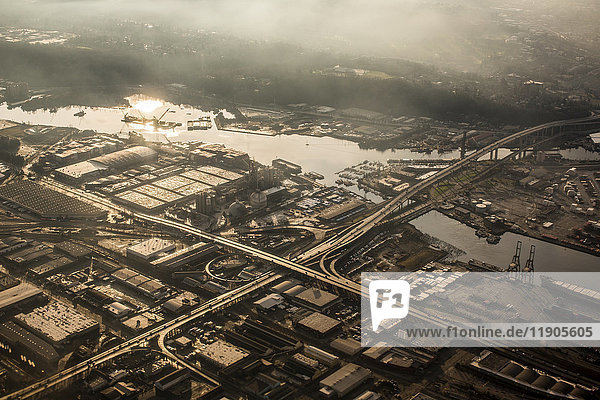 Aerial view of bridge over urban river  Seattle  Washington  United States