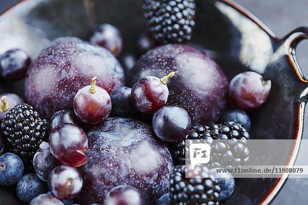 Pflaumen  Brombeeren  Heidelbeeren und Trauben in Keramikschale