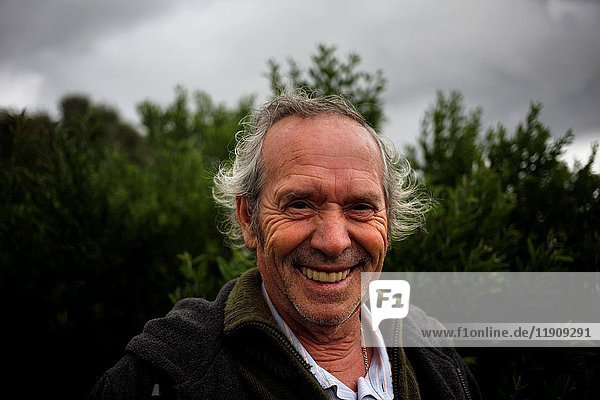 Poet and writer Joaqu'n Vazquez Manzano 'Miyelito' miles in Prado del Rey  Sierra de Cadiz  Andalusia  Spain.