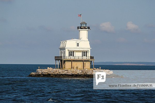 Long Beach Bar Lighthouse  also known as Bug Light  can be reached by a boat cruise from the East End Seaport Museum in Greenport  Long Island  New York State.
