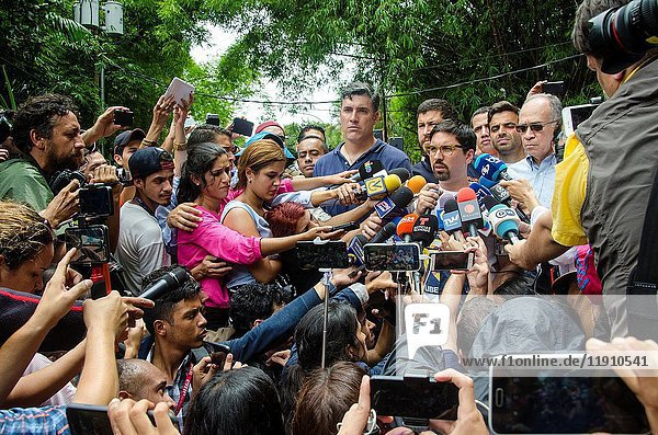 """Freddy Guevara  leader of the People's Will and First Vice-President of the National Assembly of Venezuela  gives statements to the press about the resolution to grant home for jail to Leopoldo Lopez. In a surprise move  Venezuelan authorities released opposition leader Leopoldo López from a military prison early Saturday and placed him under house arrest  citing concerns for his health and """"irregularities in his conviction. Caracas  July  8  2017."""