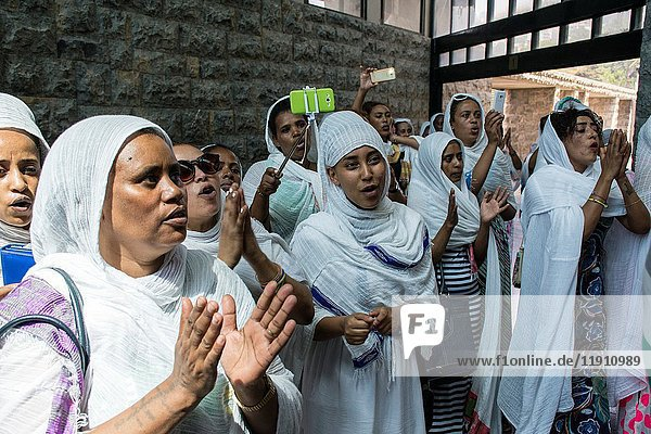 Ethiopian Orthodox Christian women during the St Yared day service inside Our Lady of Lebanon Church Harissa Lebanon.