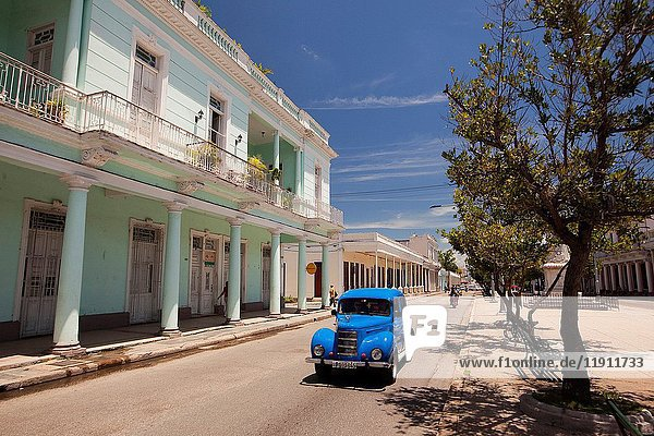 Old American car at the main avenue-Paseo del Prado or so called Boulevard  Cienfuegos  Cuba  West Indies  Central America.