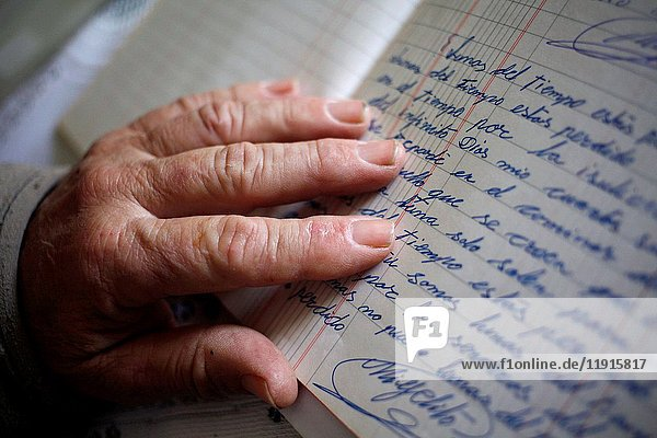 Poet and writer Joaqu'n Vazquez Manzano 'Miyelito' reads his poems in Prado del Rey  Sierra de Cadiz  Andalusia  Spain.