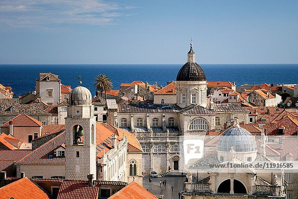 Croatia  Dalmatia  Dalmatian Coast  Dubrovnik  historical centre listed as World Heritage by UNESCO  city rooftops and the dome of the Assumption cathedral