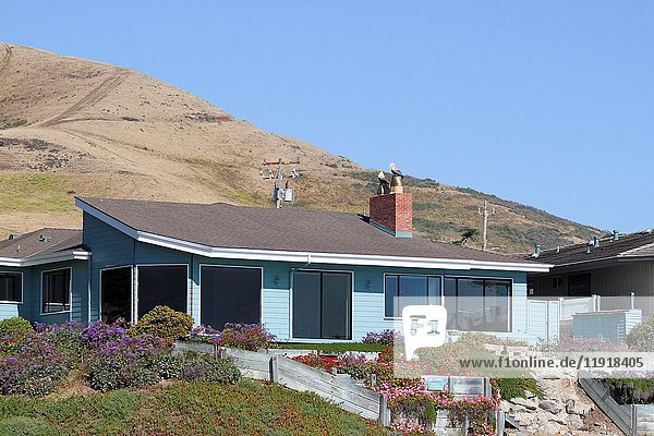 A home on the beach near the town of Morro Bay  San Luis Obispo County  California  United States. Editorial use only.