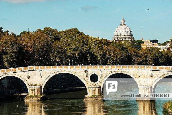 Ponte Sisto over Tiber River  Cupola of St. Peter's Basilica  Rome  Italy  Lazio.