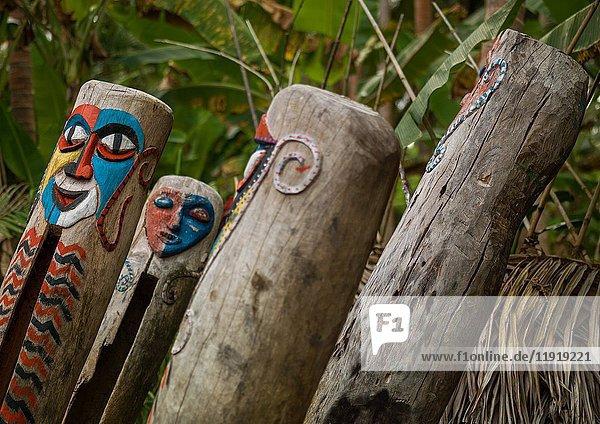 Painted slit drums in the Small Nambas tribe  Malekula island  Gortiengser  Vanuatu.
