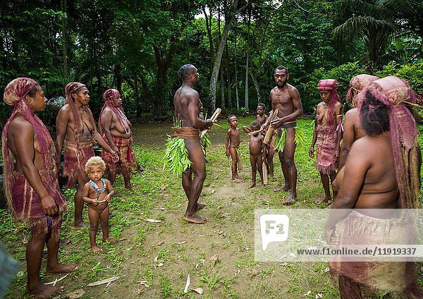 People from Big Nambas tribe performing the dance sticks during a ceremony  Malampa Province  Malekula Island  Vanuatu.