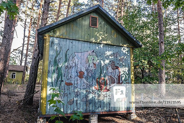Russian cartoon characters drawed on a summer house in 'Emerald' recreation base in Chernobyl Nuclear Power Plant Zone of Alienation  Ukraine.