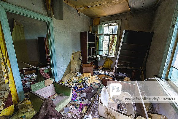 Interior of detached house in Pripyat ghost city of Chernobyl Nuclear Power Plant Zone of Alienation around nuclear reactor disaster in Ukraine.