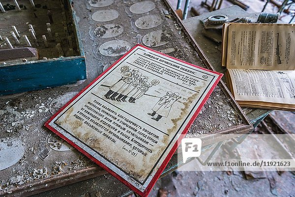 Teaching aids in High school No 2 in Pripyat ghost city of Chernobyl Nuclear Power Plant Zone of Alienation in Ukraine.